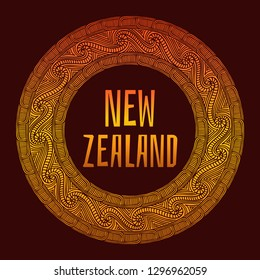 New Zealand. Vector illustration. Travel design with ethnic pattern ornaments frame. Polynesian tribal concept.