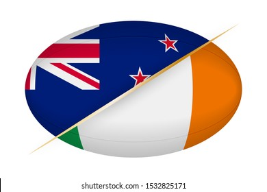 New Zealand versus Ireland, concept for rugby tournament. Vector flags stylized Rugby ball.