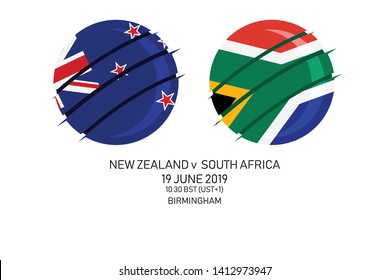 New Zealand vs South Africa, 2019 Cricket Match, Vector illustration