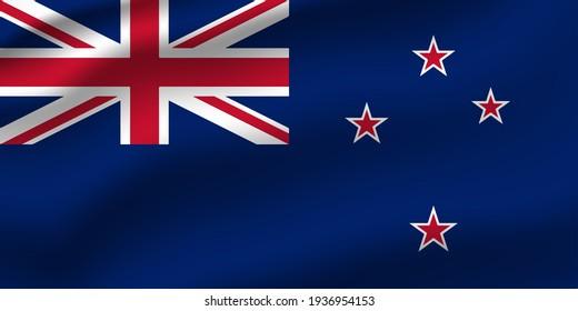 New Zealand waving flag vector editable
