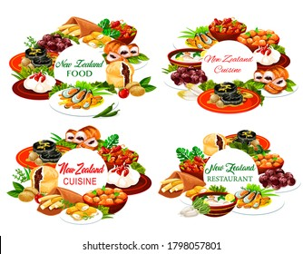 New Zeland cuisine vector round frames pork with apples and prunes, afghan cookies, Pavlova cake, mussels with cheese, oyster soup, steak, fish and potatoes, roast lamb with chutney Nz dishes posters