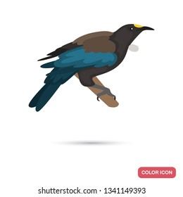 New Zeland tui bird color flat icon for web and mobile design