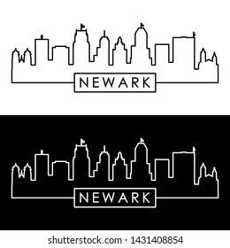 Newark city skyline. Linear style. Editable vector file.
