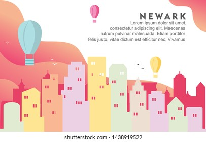 Newark New Jersey City Building Cityscape Skyline Dynamic Background Illustration