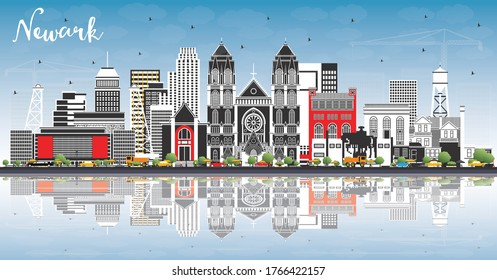 Newark New Jersey City Skyline with Color Buildings, Blue Sky and Reflections. Vector Illustration. Newark Cityscape with Landmarks. Business Travel and Tourism Concept with Modern Architecture.