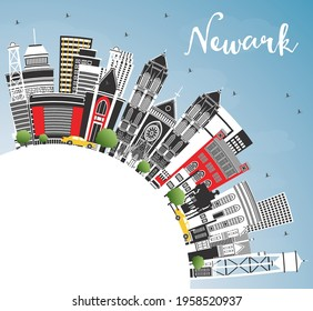 Newark New Jersey City Skyline with Color Buildings, Blue Sky and Copy Space. Vector Illustration. Newark Cityscape with Landmarks. Travel and Tourism Concept with Modern Architecture.