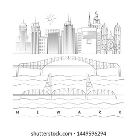 Newark, New Jersey skyline minimal linear vector illustration and typography design