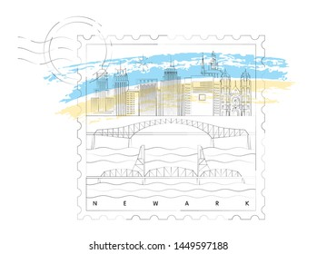 Newark, New Jersey skyline stamp vector illustration and typography design