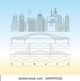 Newark, New Jersey skyline vector illustration and typography design