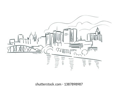 Newark New Jersey usa America vector sketch city illustration line art