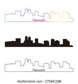 Newark skyline linear style with rainbow in editable vector file