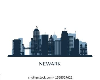 Newark skyline, monochrome silhouette. Vector illustration.