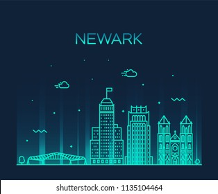 Newark skyline, New Jersey, USA. Trendy vector illustration, linear style