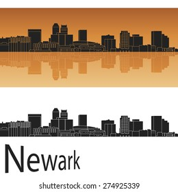 Newark skyline in orange background in editable vector file