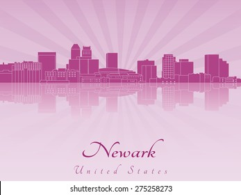 Newark skyline in purple radiant orchid in editable vector file