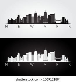 Newark USA skyline and landmarks silhouette, black and white design, vector illustration.