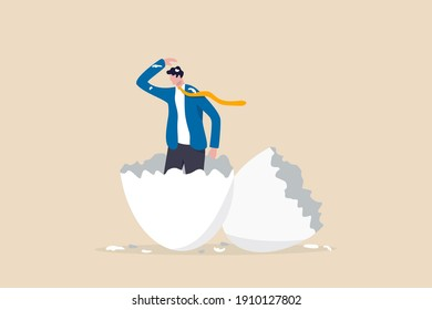 Newbie or beginner just start new business, entrepreneur or start up, begin new job position or out of comfort or safe zone concept, ambitious businessman worker just hatched from cracked egg.