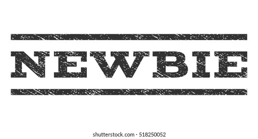 Newbie watermark stamp. Text tag between horizontal parallel lines with grunge design style. Rubber seal stamp with scratched texture. Vector gray color ink imprint on a white background.
