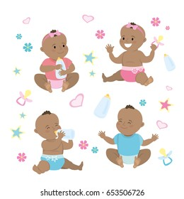 Newborn african american baby set,isolated on white background,cartoon vector illustration