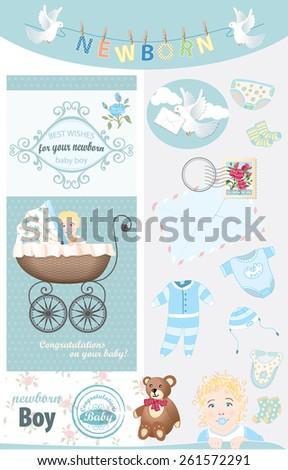 6906d134c Royalty-free stock vector images ID: 261572291. Newborn Baby Boy  Congratulations Vector Vintage Set - Vector
