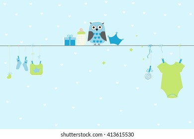 Newborn baby boy symbols with owl. Baby arrival greeting card vector