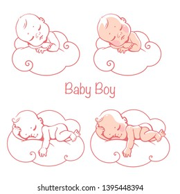 Newborn baby boys sleeping on cloud. Little baby boy wearing  diaper lying on white soft pillow. Cute children sleep. It's a boy card. Baby shower isolated template. Vector illustration.