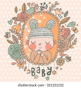 Newborn baby card in light pastel colors. Stylish shower card with baby boy, flowers, hearts, angel, birds, bees and other holiday elements. Cartoon vector background
