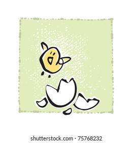 Newborn Baby Chick set free, simple primitive drawing style