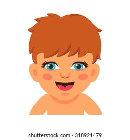 Newborn baby face smiling and watching with blue his eyes. Flat style vector cartoon illustration isolated on white background.
