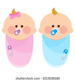 Newborn baby girl and boy wrapped in cloth