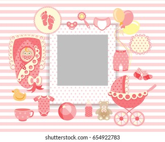 Newborn baby girl clip art with cute icons collection