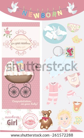 Newborn Baby Girl Congratulations Vector Vintage Stock Vector