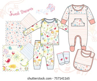 Newborn Baby Girl fashion Illustration. Sweet Dream Collage and Retro Pattern with Four Seamless patterns saved in Swatches Panel. Isolated vector flat sketches and design elements in separate layers