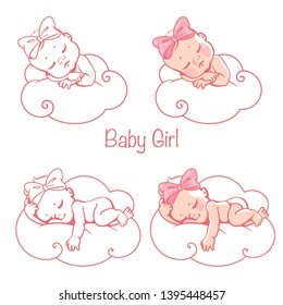 Newborn baby girls sleeping on cloud. Little baby girls with bow, wearing  diaper lying on white soft pillow. It's a girl card. Cute children sleep. Baby shower isolated template. Vector illustration.