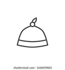 Newborn baby hat line icon. linear style sign for mobile concept and web design. Baby hat outline vector icon. Symbol, logo illustration. Vector graphics