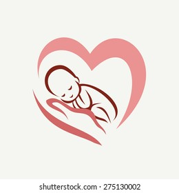 newborn baby lying on the hand symbol, childbirth and parenthood concept