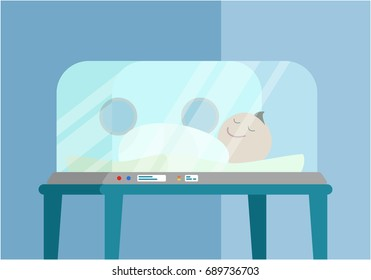 Newborn baby. Medical intensive care incubator box. Concept of child care .Isolated. Vector illustration