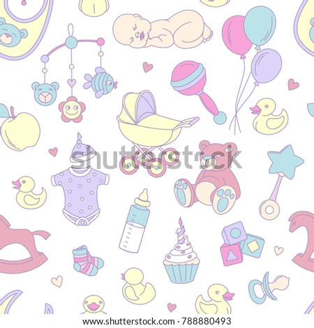 Newborn Baby Shower Seamless Pattern Textile Stock Vector Royalty