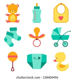 Newborn baby stuff icons set.
