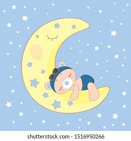 Newborn card with teddy bear sleeping on the Moon. Bear pilot, moon, stars on a blue background. Cute Illustration. Vector baby shower invitation.