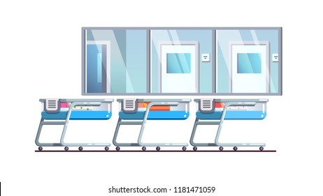 Newborn care hospital nursery ward interior with babies in cribs. Modern birthing center post-delivery child room with glass wall window for observation. Flat style isolated vector illustration