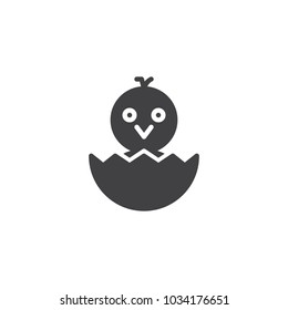Newborn chicken in eggshell vector icon. filled flat sign for mobile concept and web design. Hatched chicken simple solid icon. Symbol, logo illustration. Pixel perfect vector graphics
