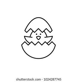 newborn chiken line black icon