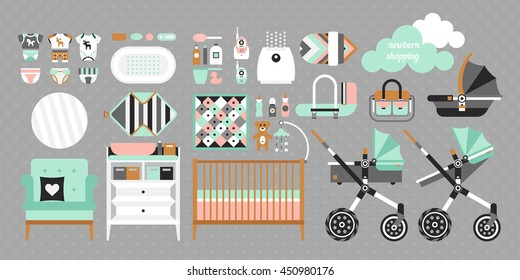 Newborn essentials shopping list. Vector baby stuff for a newborn. The plan purchases for a newborn. Baby buy set. Cribs, baby stroller, children clothing, toys and other baby stuff for a newborn.