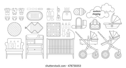 Newborn essentials shopping list. Vector baby stuff for a newborn. The plan purchases for a newborn. Baby buy set. Cribs, baby stroller, children clothing, toys and other baby stuff for a newborn.
