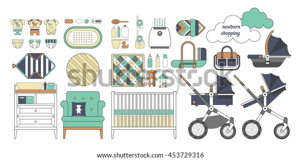 Lista De Cosas Para Bebes Recien Nacidos.Vector De Stock Libre De Regalias Sobre Lista De Compras