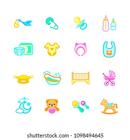 Newborn and first years baby objects colorful micro icon-set