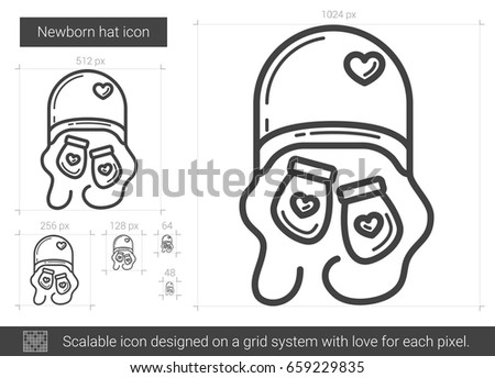 a3758bab3af Newborn hat vector line icon isolated on white background. Newborn hat line  icon for infographic