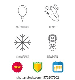 Newborn, heart and air balloon icons. Snowflake linear sign. Shield protection, calendar and new tag web icons. Vector