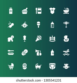 newborn icon set. Collection of 25 filled newborn icons included Baby girl, Diaper, Pushchair, Newborn, Stroller, Baby walker, Baby bottle, Breast pump, food, Ducky